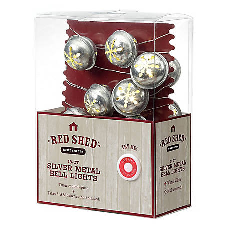 Red Shed Metal Bell Lights Silver