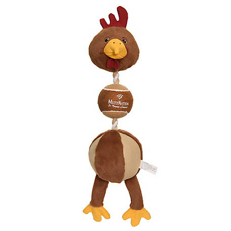 MuttNation Fueled by Miranda Lambert 3-in-1 Plush Chicken, Ball and Rope Dog Toy, C92013B1