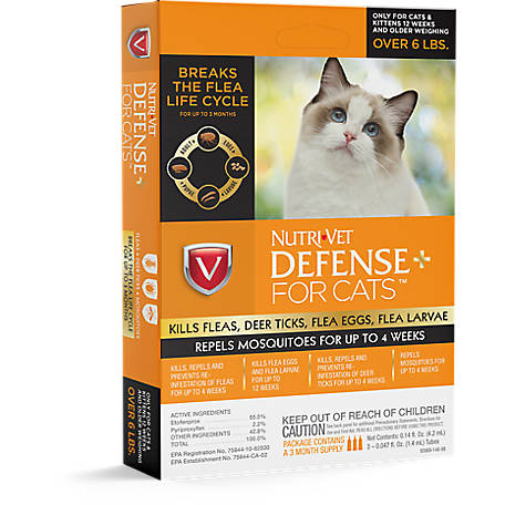 Nutri-Vet Defense Plus Flea & Tick 3 Pack Cat, 1030348