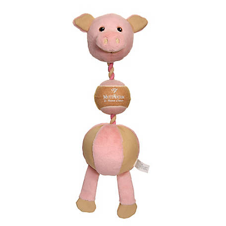 MuttNation Fueled by Miranda Lambert 3-in-1 Plush Pig, Rope and Ball Dog Toy, C92013A1