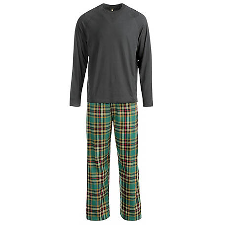 Blue Mountain Men's Plaid Flannel Pajama Set