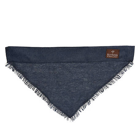 MuttNation Fueled by Miranda Lambert Frayed Denim Slip-On Dog Bandana, MSDD001-L