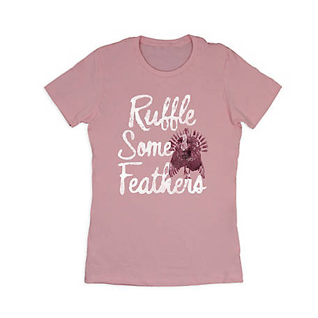 Farm Fed Clothing Women's Short Sleeve Ruffle Feathers Tee
