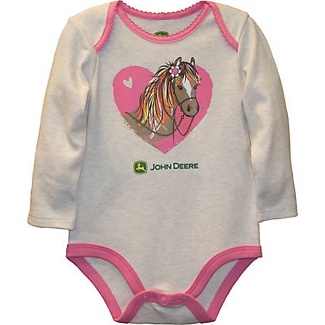John Deere Girls' Infant Long Sleeve Body Shirt Horse, J2B245WNT