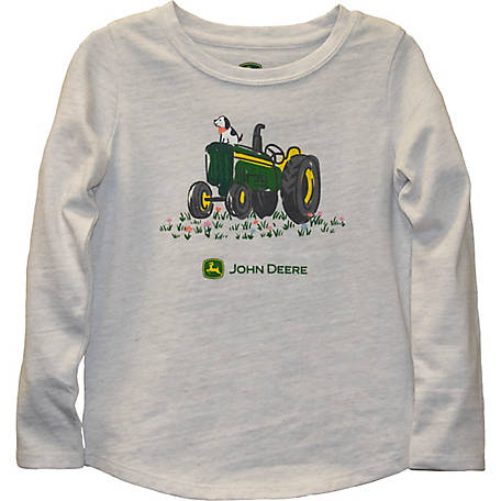 John Deere Girls' Toddler Girl's Long Sleeve Tee Tractor Dog, J2T238WTT