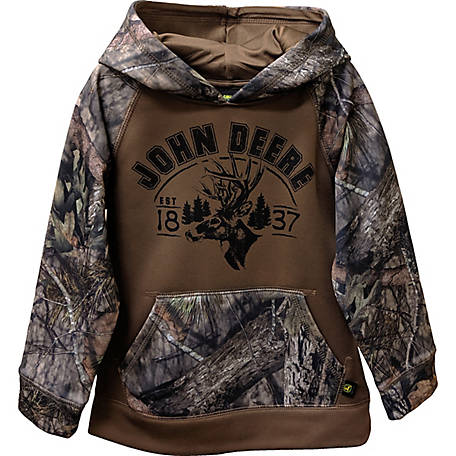 John Deere Boys' Boy's Long Sleeve Pull Over Fleece Mossy Camo, J2J521DCT