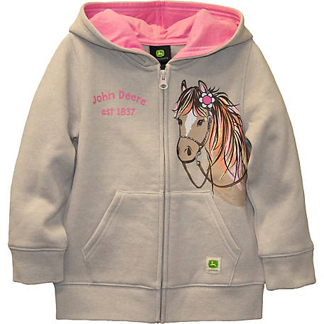 John Deere Girls' Toddler Long Sleeve Zip Up Horse Fleece, J2J246WTT