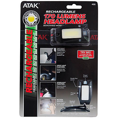 ATAK 170 Lumen Rotating Rechargable Headlamp, 400