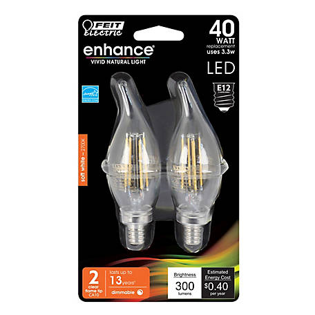 Feit Electric Ehance Ftip 40Weq S White Clabra Dimable LED 2 Pack, BPCFC40927CAFIL/2/RP