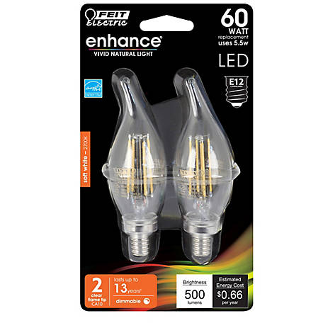 Feit Electric Ehance Ftip 60Weq S White Clabra Dimable LED 2 Pack, BPCFC60927CAFIL/2/RP
