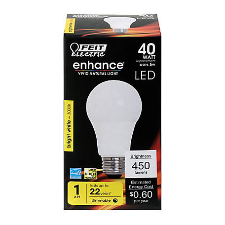 Feit Electric Enhance A19 40W Eq B White Dimmable LED, OM40DM/930CA