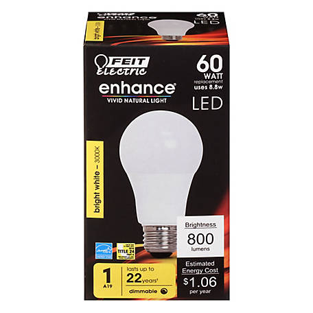 Feit Electric Enhance A19 60W EQ B White Dimmable LED, OM60DM/930CA