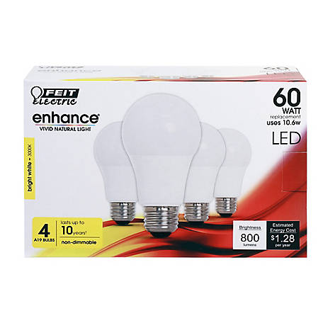 Feit Electric Enhancea19 60W EQ B White Dimable LED, 4 Pack, OM60/930CA10K/4