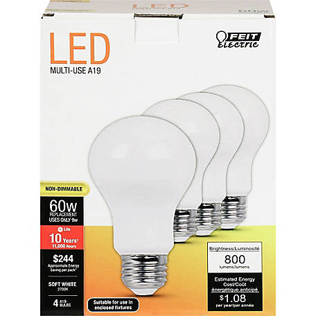 Feit Electric LED 60W A19 Nondim 10 Year, S-White, 4 Pack, A800/827/10KLED/4