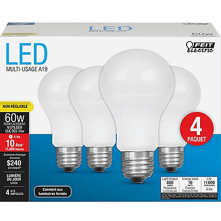 Feit Electric LED 60W A19 Nondimmable 10 Year, Daylight 4 Pack, A800/850/10KLED/4