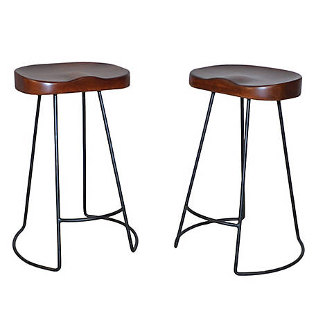 Carolina Chair & Table 24 in. Ranch Stool Set of 2, TSCF2411CHETBK
