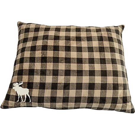 Retriever 38 in. x 48 in. Plush Buff Plaid Pillow Bed