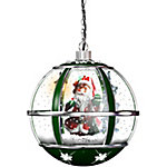 Fraser Hill Farm 13 in. Hanging Musical Santa Claus Globe in Green, FSHL013RDA-GN