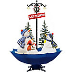 Fraser Hill Farm 67 in. Musical Snowman Family Scene Blue, FSSM075A-BLU