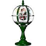 Fraser Hill Farm 23 in. Musical Tabletop Santa Claus Globe in Green, FSTL023RDA-GN