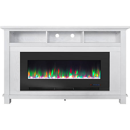 Cambridge White Fireplace with Crystal Rock Display, CAM5735-1WHT