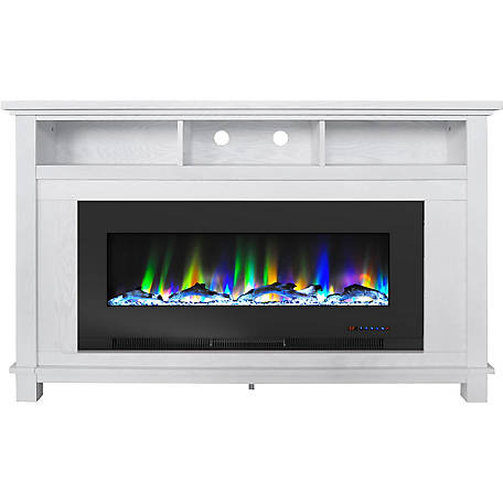 Cambridge White Fireplace with Driftwood Log Display, CAM5735-2WHT