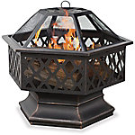 Endless Summer Oil Rubbed Bronze Wood Hexagon Fire Pit With Lattice WAD1377SP
