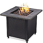 Endless Summer Square LP Gas Fire Pit With Staped Wicker Side GAD15204SP