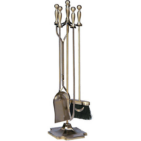 UniFlame 5-Piece Antique Brass Finish Fireset with Ball Handles, T51030AB