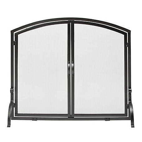 UniFlame Large Single Panel Black Wrought Iron Screen with Doors, S1064