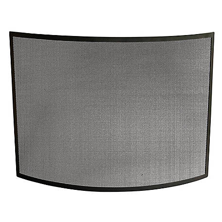 UniFlame Single Panel Curved Black Wrought Iron Screen, S1042