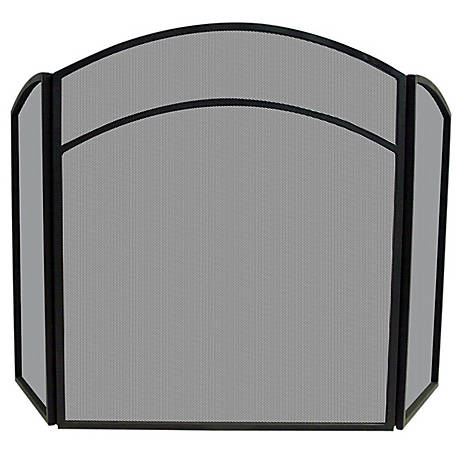 UniFlame 3-Fold Black Wrought Iron Arch Top Screen, S1060