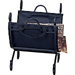 UniFlame Black Wrought Iron Log Holder with Canvas Carrier, W1118