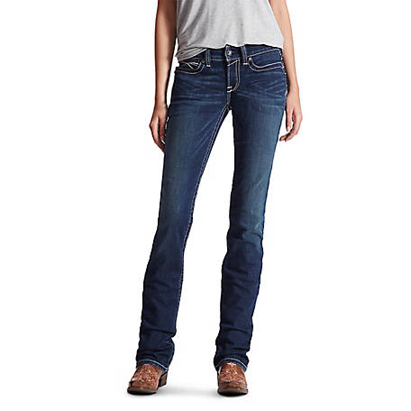 Ariat Women's R.E.A.L Mid Rise Icon Stackable Straight Leg Jean