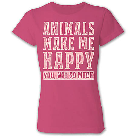 Farm Fed Clothing Women's Short Sleeve 'Animals Make Me Happy, You Not So Much' Tee, TSC0933