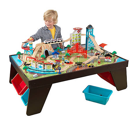 KidKraft Aero City Train Set & Table, Espresso, 17806