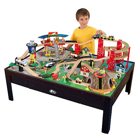 KidKraft Airport Express Espresso Train Set Table, 17976