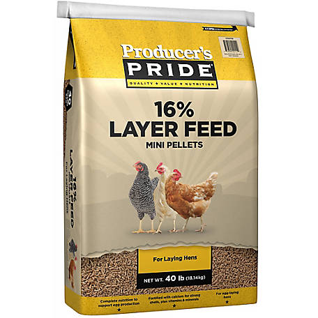 Producer's Pride 16% Mini-Pellet Layer Chicken Feed, 40 lb., 3005205-205