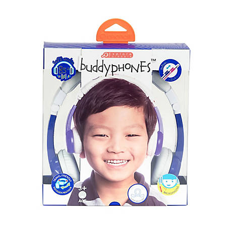 BuddyPhones Blue Wireless Bluetooth Volume Limiting Kid's Headphones with Mic, BP-EX-FD-BLUE-01-K