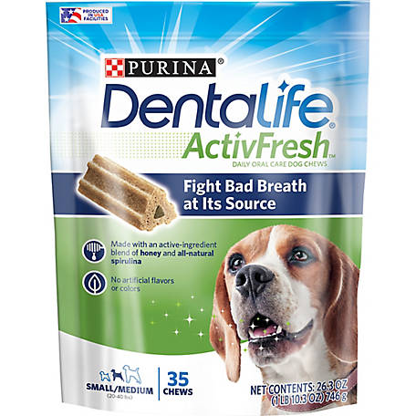 DentaLife Purina DentaLife Small/Medium Breed Dog Dental Chews, ActivFresh Daily Oral Care Small/Medium Chews, 35 ct. Pouch