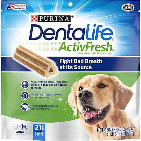 DentaLife Purina DentaLife Large Breed Dog Dental Chews, ActivFresh Daily Oral Care Large Chews, 21 ct. Pouch