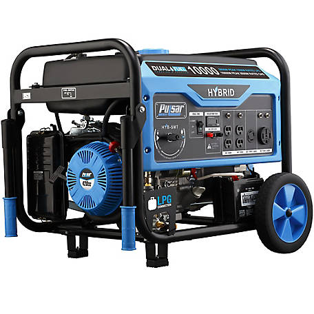 Pulsar 10K Peak Gas, 9K Peak LPG Dual-Fuel Portable Generator with Electric Start, Carb, PG10000B16