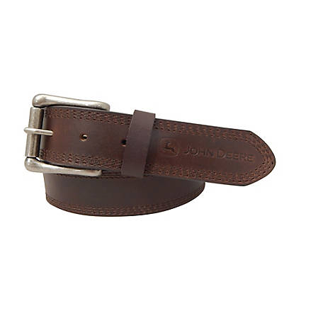 John Deere 38mm 3 Row Stitch Leather Belt 4556500