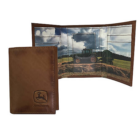 John Deere Leather Trifold Mens Wallet 4079000