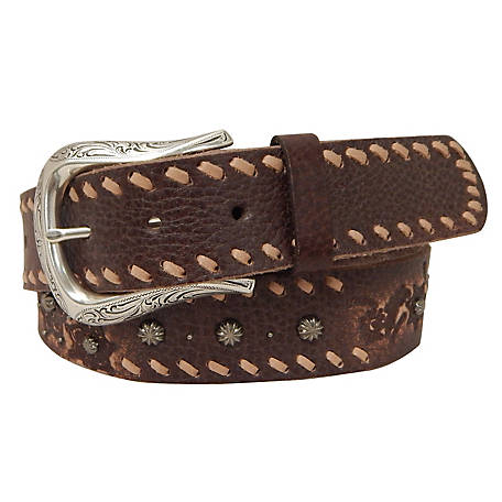 Roper 38mm Embossed/Lacing Leather Belt 34 6551300-200