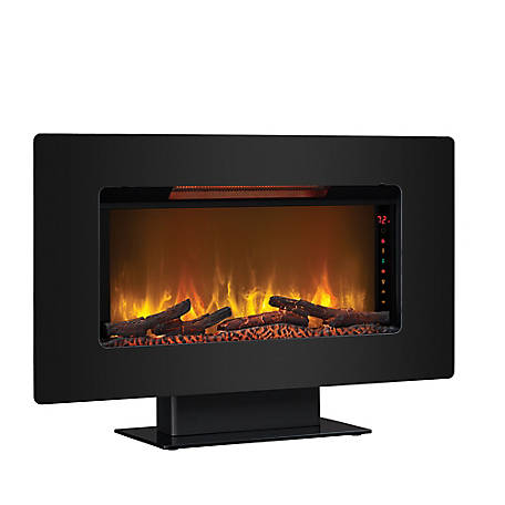 ClassicFlame Elysium 36 in. Wall Mounted Infrared Quartz Fireplace, Black Glass Frame, 36II100GRG