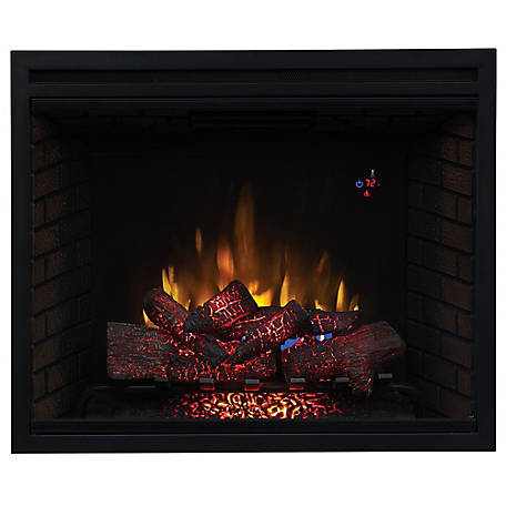 ClassicFlame 39 in. Traditional Built-In Electric Fireplace Insert with Glass Door, Dual Voltage Option, 39EB500GRA