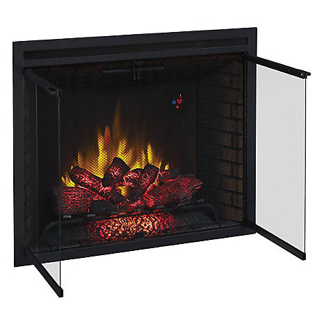 ClassicFlame 39 in. Traditional Built-In Electric Fireplace Insert with Glass Doors & Mesh Screen, Dual Voltage, 39EB500GRS