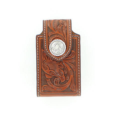 Nocona Floral Embossed Phone Case  Tan