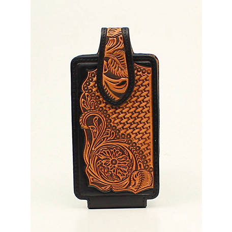 Nocona Cell Case Medium Embossed Black/Tan